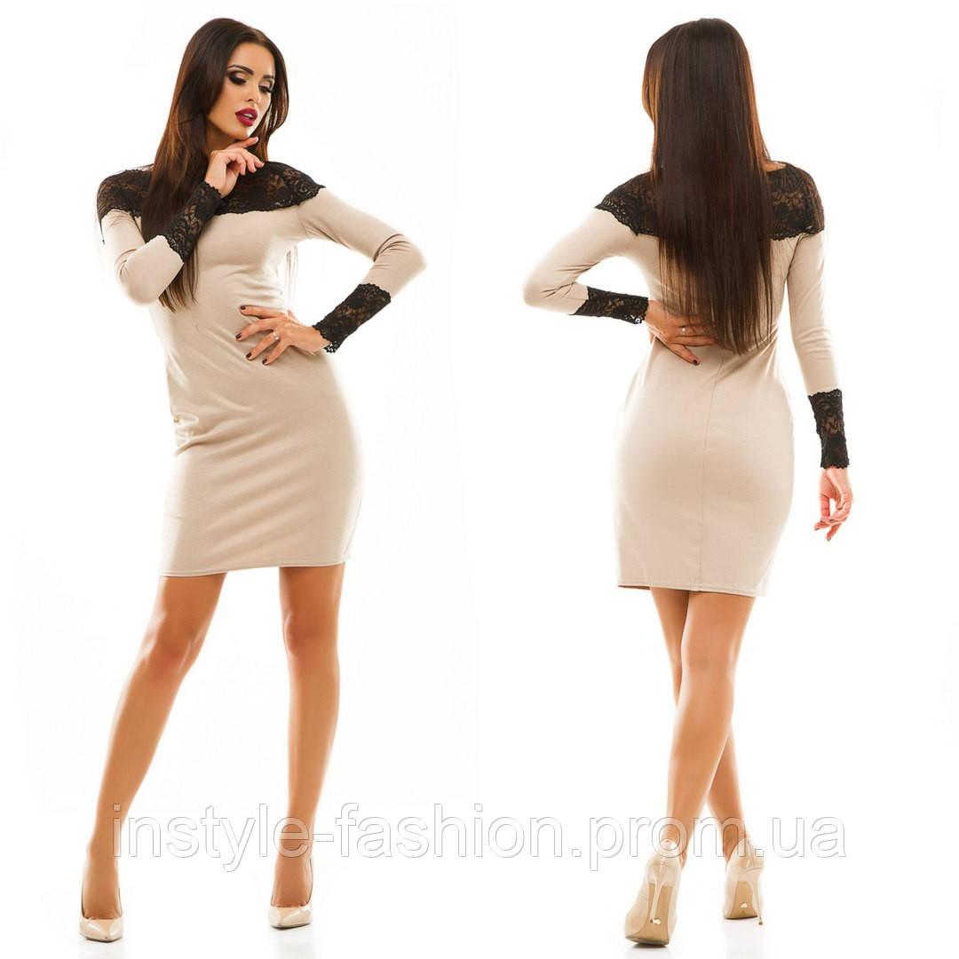 Женское трикотажное платье с кружевом цвет бежевый  купить недорого ... 7430d5652c5