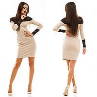 Женское трикотажное платье с кружевом цвет бежевый