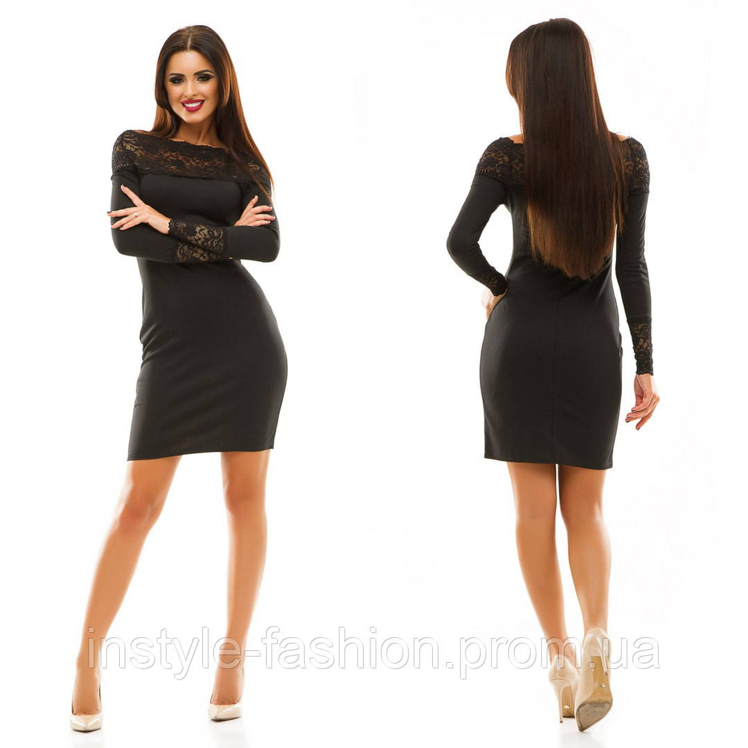Женское трикотажное платье с кружевом цвет черный  купить недорого ... df42c2e8355