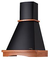 Pyramida  Rustico R 60 black cherry/U (600 мм.) кухонная вытяжка, черная эмаль / массив дуба цвет вишня