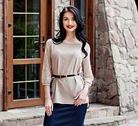 Легкая изящная блуза  из креп-шифона в модном цвете с гипюровым рукавом