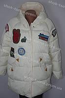 Женская зимняя куртка с принтом на замке, с капюшоном белая
