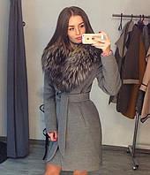 Короткое пальто с натуральным мехом