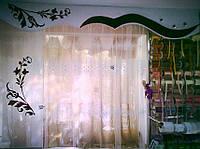 Жесткий ламбрекен Белый+цветы бордо с панно Ш-2.50м