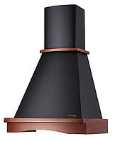 Pyramida  Rustico R 60 black nut /U (600 мм.) кухонная вытяжка, черная эмаль / массив дуба цвет орех, фото 1