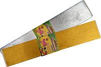 """Бумага креповая 30% в упаковке 7821 """"Мультяшки"""" одинарная, золото/серебро 50*100 см."""