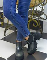 Ботинки серые лаковые Giuseppe Zanotti на тракторной подошве код 9646