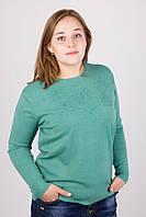 Симпатичная женская батальная кофточка зеленого цвета