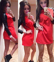 """Платье мини с рукавами лайкра """"Кожа"""" красное"""