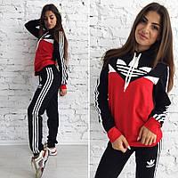 Женский спортивный костюм Adidas Адидас ткань турецкая двухнитка черный с красным, фото 1