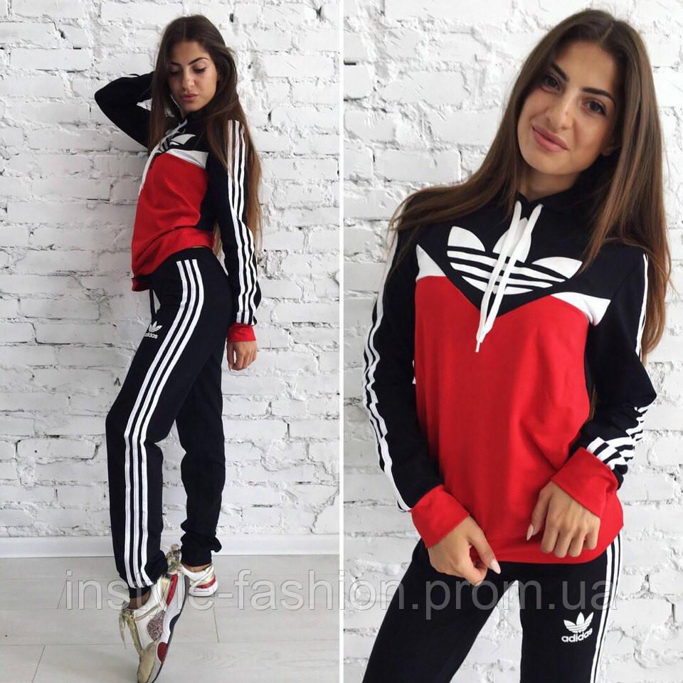 Женский спортивный костюм Adidas Адидас ткань турецкая двухнитка черный с красным