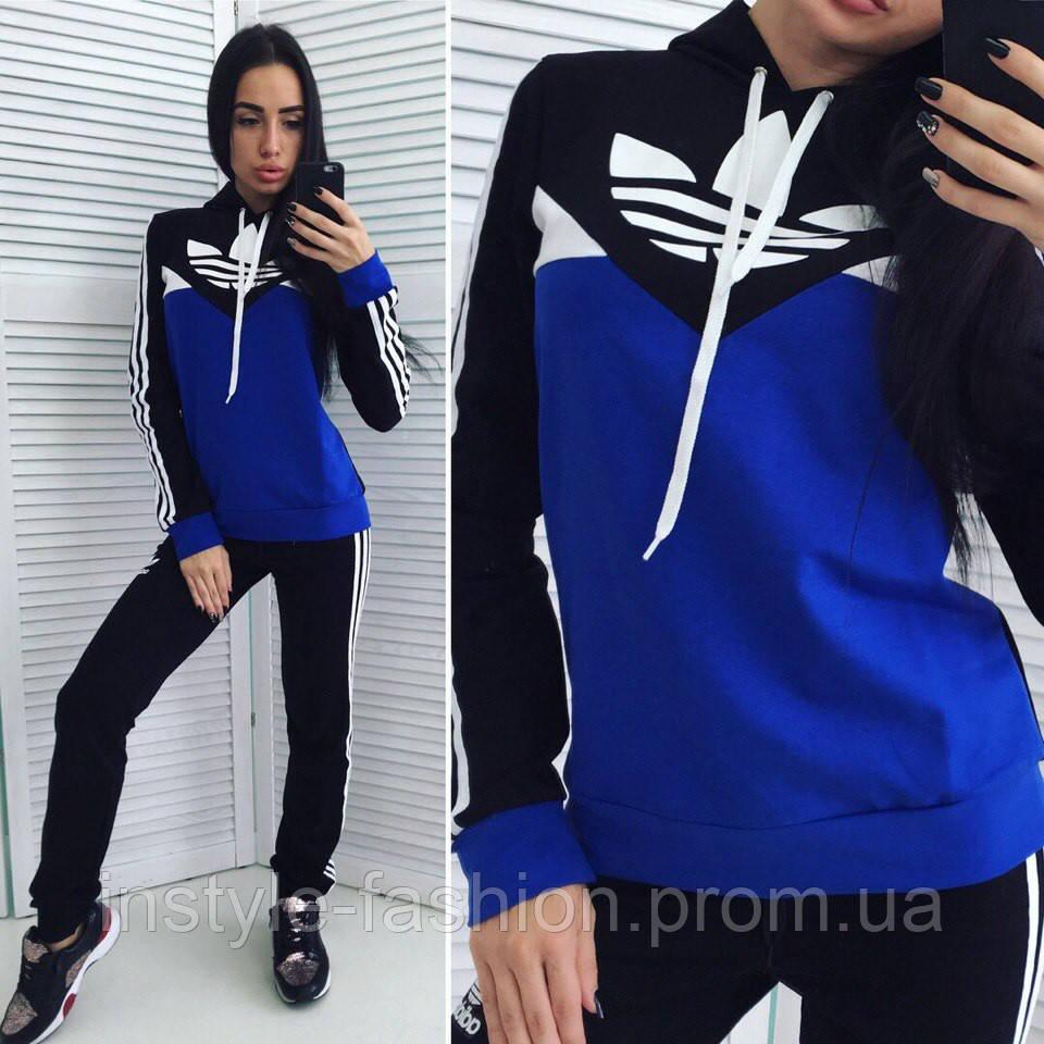 Женский спортивный костюм Adidas Адидас ткань турецкая двунитка черный с  синим - Сумки брендовые, кошельки bf81de249a3