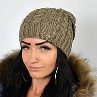 "Вязаная женская шапка, ""Имбирь"" (Капучино)"