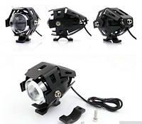 Светодиодная мото фара LED U5 в защитном корпусе с креплением, мотоцикл, скутер, джип