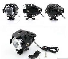 Світлодіодна мото фара LED U5 в захисному корпусі з кріпленням, мотоцикл, скутер, джип