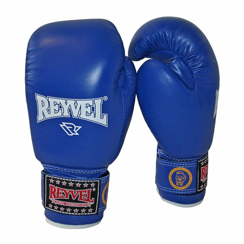 Перчатки боксерские (без печати ФБУ) одноцветные REYVEL кожа 10 oz