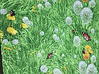 Бязь с одуванчиками на зеленой траве, фото 1