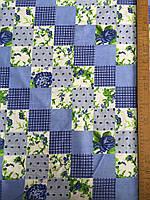 Бязь с голубыми квадратиками с рисунком в стиле Прованс