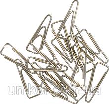 Скрепки 25 мм., никелированные, треугольные, 100 шт., картонная упаковка. BuroMax