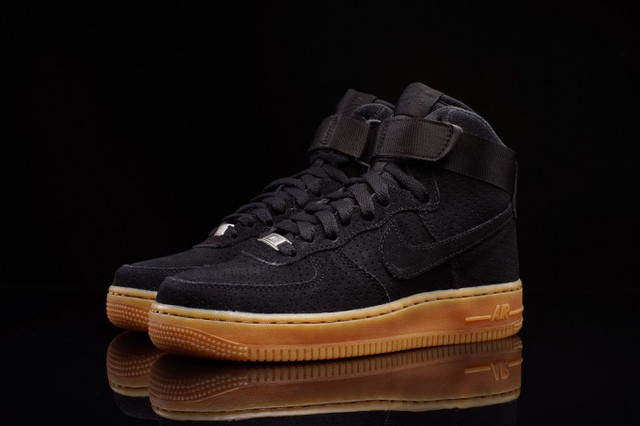 b9184abb Описание Кроссовки в стиле Nike Air Force 1 Hi Suede Black/Gum мужские
