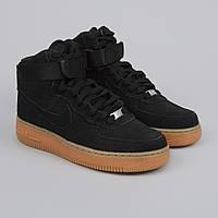 Кроссовки Nike Air Force 1 Hi Suede Black/Gum (с мехом) мужские