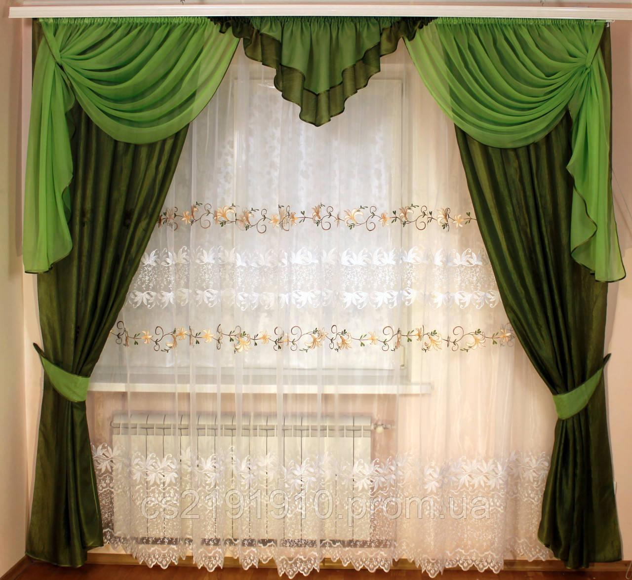Шторы с тюлем для гостиной Кармен зеленый, фото 1