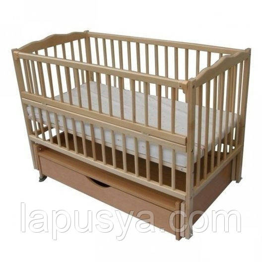 """Дитяче ліжечко Дубок """"Веселка""""натуральне з відк.боковинкою та шухлядою."""