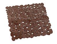 Коврик для душа антискользящий квадратный коричневый AWD02090811