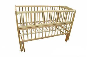 """Дитяче ліжечко Дубок """"Веселка """" з відк.боковинкою,натур.на маятнику"""