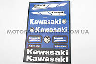 "Наклейки (набор)   ""KAWASAKI""   (32х23см, синие)   (#6000B)"