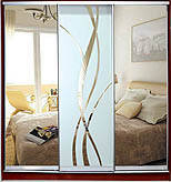 Шкаф-купе 3-х дверный Стандарт-1  фасады зеркало с рисунком пескоструй
