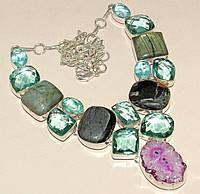 Колье с натуральными камнями - Яшма, Лабрадор, срез Солнечного Кварца, Кварц