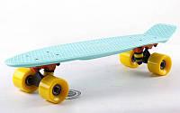 """Пенни борд пастель (Penny board pastel) Fish 22"""" - Мятный с желтыми колесами"""