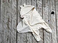 Универсальный махровый спальник-человечек конверт кокон 6-12м  молочный
