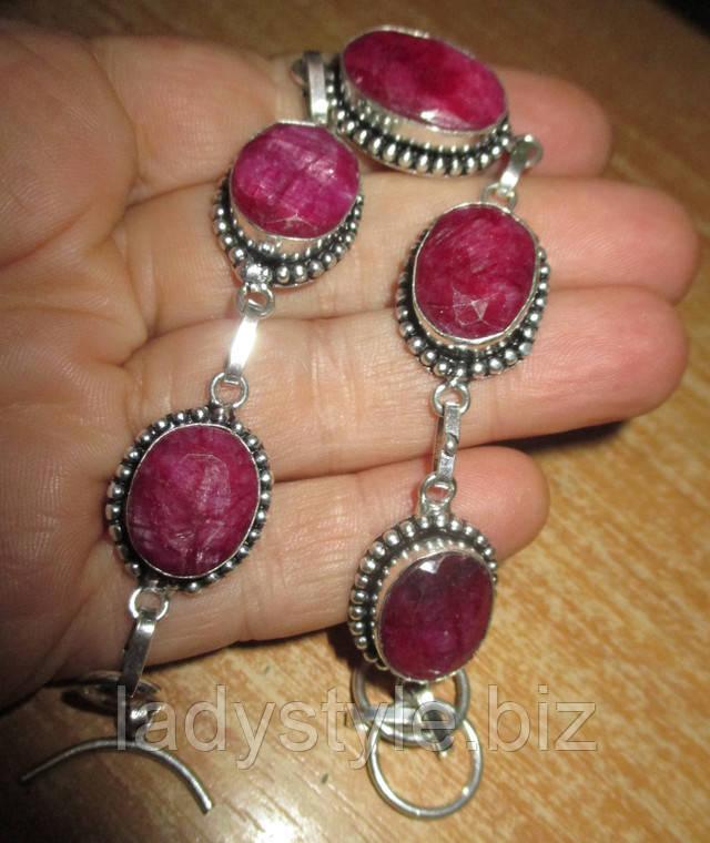 серебряный браслет рубин украшения купить натуральные камни