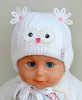 Белая зимняя шапка для новорожденных девочек