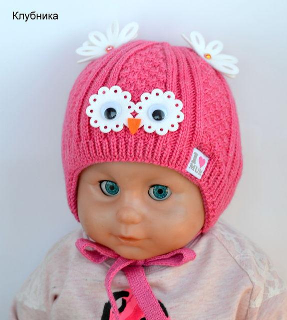 Красивая детская зимняя шапочка для новорожденных