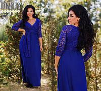 Нарядное красивое женское длинное платье большого размера с гипюром