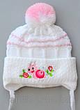Вязаная шапочка для девочки 9 месяцев, фото 4