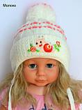 Вязаная шапочка для девочки 9 месяцев, фото 5