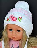 Вязаная шапочка для девочки 9 месяцев, фото 3