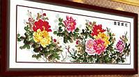 НАБОР ДЛЯ ВЫШИВАНИЯ крестиком Мулине цветы розы нитки иголка ткань схема в комплекте большой размер
