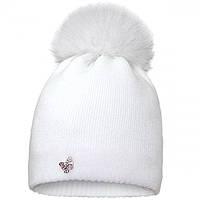 Зимняя шапка для девочки с натуральным мехом р-ры 56