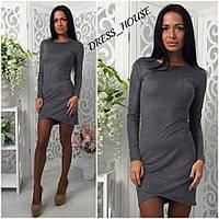 Замшевое платье с длинным рукавом