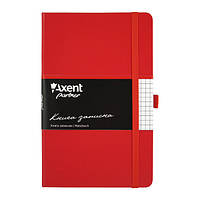 Блокнот на резинке A5 Axent Partner 8201 (96 листов) кремовая бумага, обложка твердая виниловая, красный