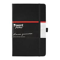 Блокнот на резинке A5 Axent Partner 8201 (96 листов) кремовая бумага, обложка твердая виниловая, черный