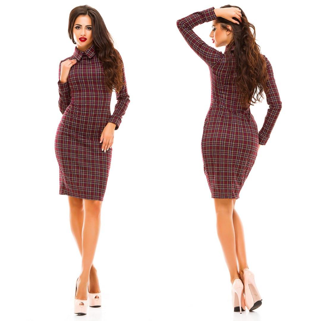 c1c3c71d63bf623 Стильное платье с воротником принт клетка, цена 304 грн., купить в Одессе —  Prom.ua (ID#374184483)