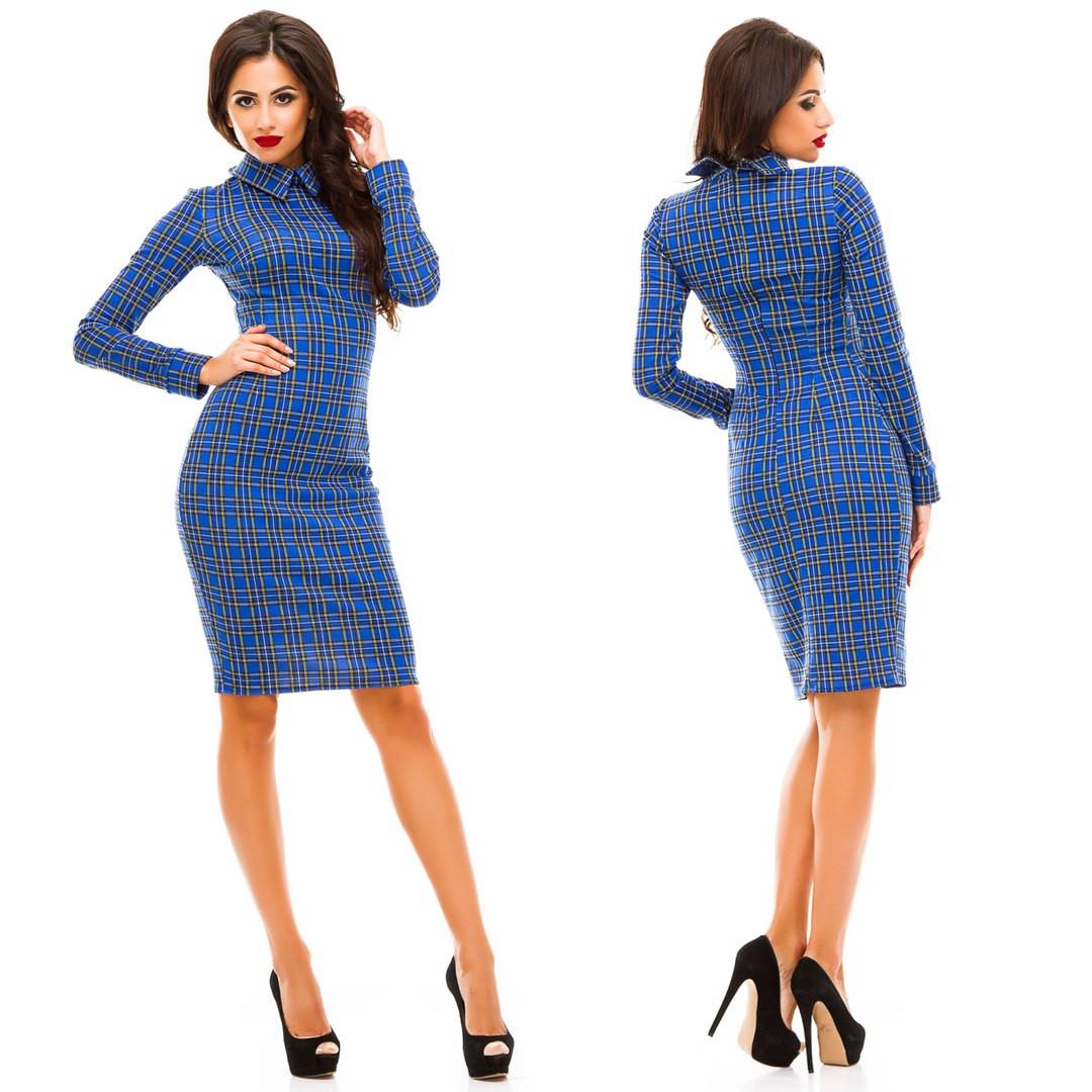 b3ced453169 Стильное платье с воротником принт клетка  продажа