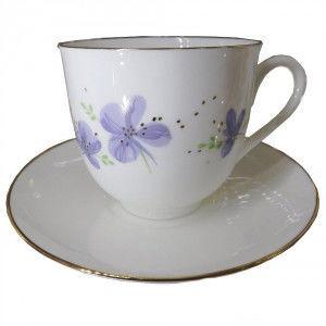 Чашка кофейная с блюдцем И.Ф.З. Ландыш Сиреневые цветы 180 мл 17581