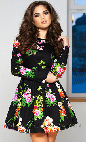 Платье женское цветы фатиновый подъюбник в комплекте